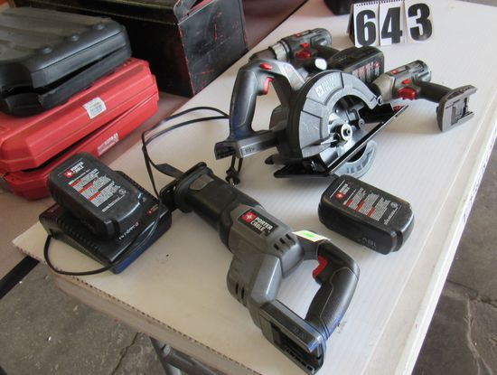 Porter Caqble 18V combination set with drill motor, saws all, quck change driver, circular saw, 3 ni