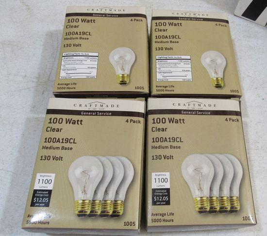 4 packs Craftmade 100w incandescent light bulbs 100A19CL good packaging