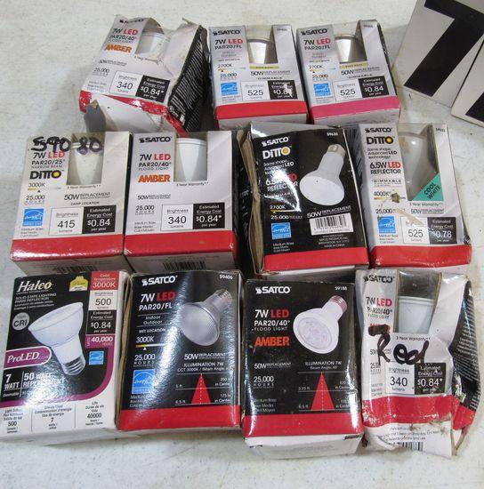 mixed Satco and Halco par 20 LED  bulbs fair packaging