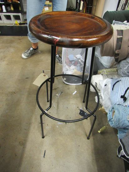 Wrought Iron wood top stool