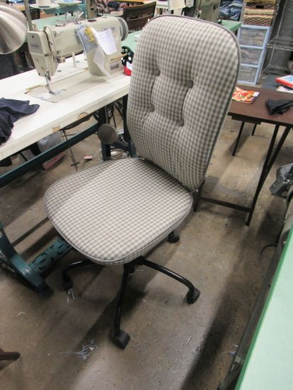 secretarial chairs fabric covered gray plaid