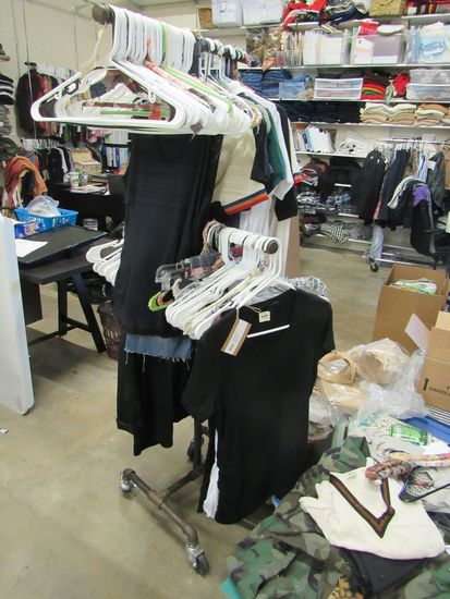 rolling 4 sides garment rack (clothes shown in picture not included)