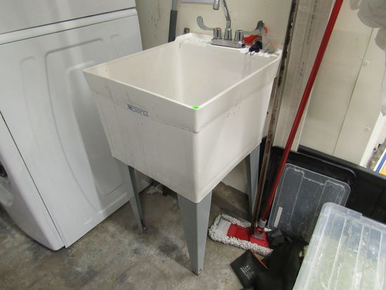 plastic laundry utility deep sink with mixing valve