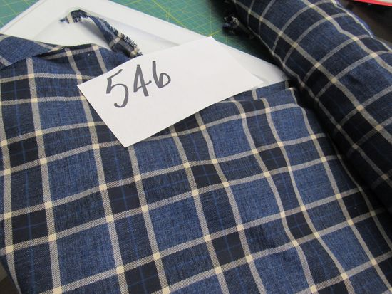 navy and crème flannel  fabric selling by the yard