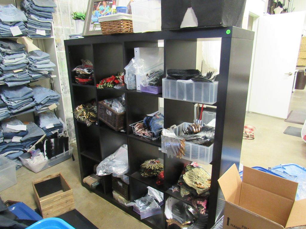 black shelving 59X59 with 16 cubicles