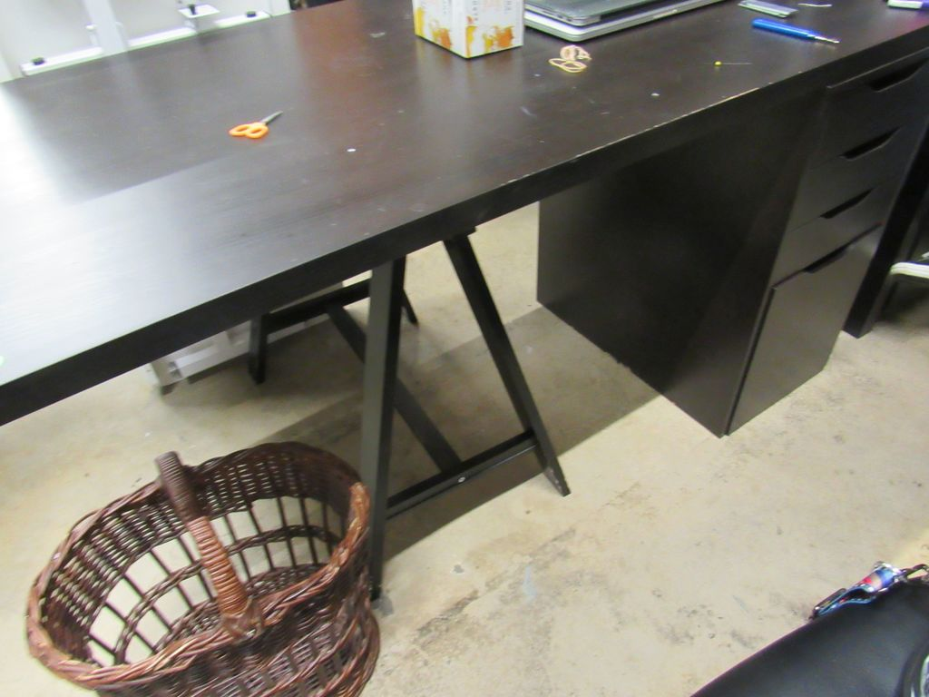 60 inch desk with sawhorse leg and filing cabinet