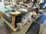 Cutting Table 12 foot by 5 Foot with  locking casters with Under table made of wood