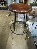 Wrought Iron wood top stool