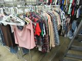 Chrome 5 foot double bar garment rack.  Clothing shown in picture not included.