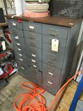 30 drawer steel cabinet  for small parts  31 wide by 41 inches high 16.5 inches deep on casters
