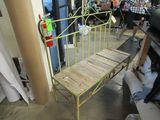 vintage wrought iron bench 4 feet with wood seat