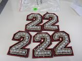 cute number 2's pearl embroidered beige red and black 5