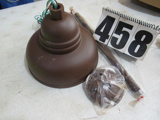 "brown10"" shaded pendant light white porcelain under shade"