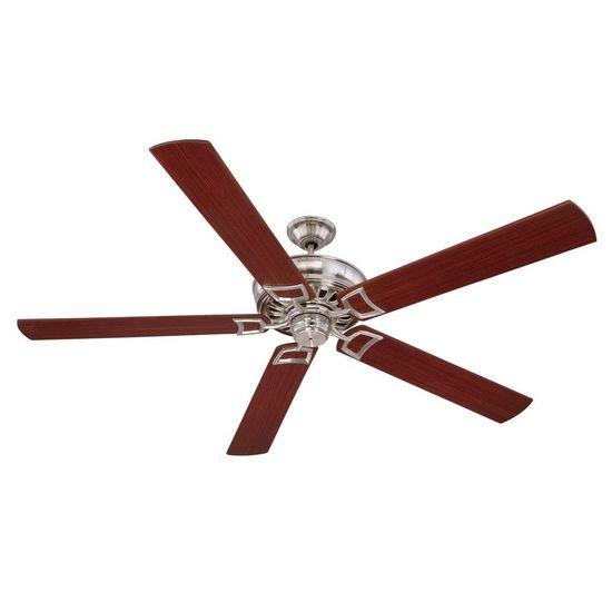"""Craftmade 72"""" 5 blade Rutgers ceiling fan mod RU72SS5 stainless steel fan walnut finish blades"""