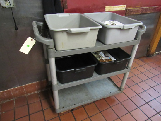 plastic busing cart 24x17