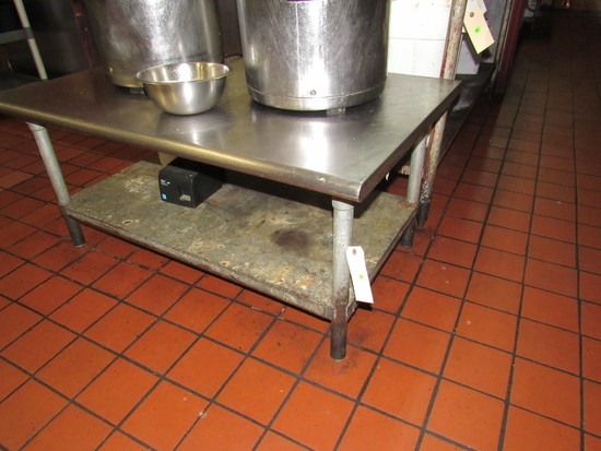 """low stainless table top galvanized legs 48"""" x 30"""""""