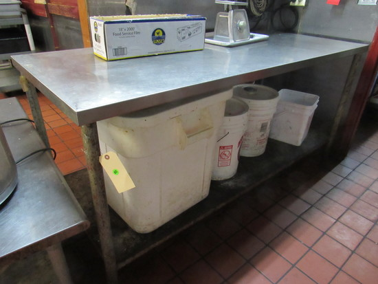 """stainless steel table top 72"""" x 30"""" galvanized under shelf"""