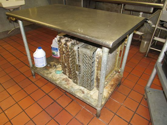 """stainless steel table top 48"""" x 30"""" galvanized under shelf"""