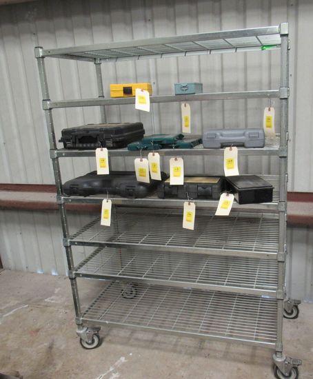 "chrome shelf unit on casters  48""  Xv 24'  x 99.5' H"