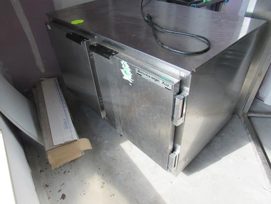 double door stainless steel under counter refrigerator
