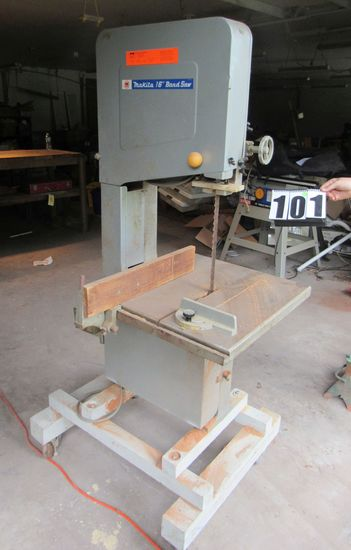 """Heavy duty Makita 16"""" band saw on casters (tests good)"""