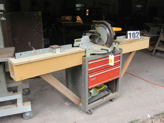 """Dewalt 12"""" compount miter saw DW705 ser 109034 mounted to craftsman tool chest on wheels with 32"""" fe"""