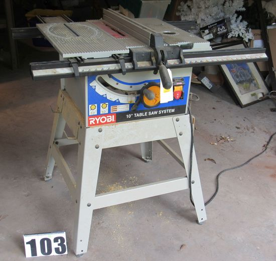 """Ryobi 10"""" table saw system set up for mounting router (not included)  (tests good)"""