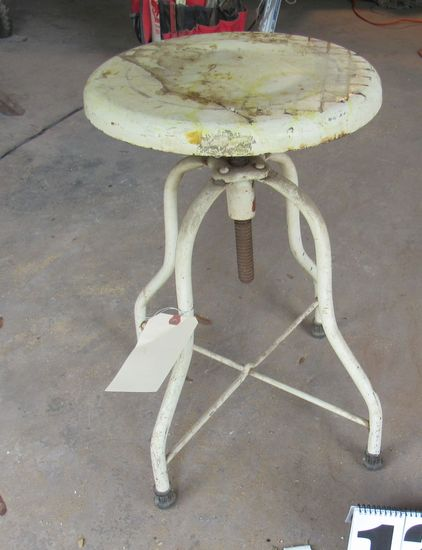 antique metal adjustable height medical exam stool