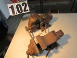 Columbia D44 bench vise and unidentified bench vise
