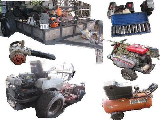 Estate Lawn Service Equipment, Trailer, Shop Tools