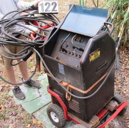 heavy duty ac/dc welding machine mounted on cart