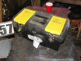 plastic tool box with tools and supplies for pvc repair