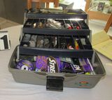 tackle box loaded with salt water tackle