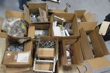 "assorted electrical hardware, 1"" nipples aluminum, box of 500 ¾ galvanized flat washers, box of 1/2"""