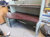 "light green office desk work station with back shelf 71"" long x 36"" wide 57"" tall"