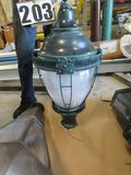 "Beacon Mediterranean post style antique green street light LED 37""x17"" fits 3"" post"