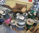 pallet of assorted spools of electrical wire mostly 16 gauge including 2 full rolls of 5000 ft