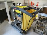 Rubbermaid mop and cleaning cart comes with dust pan and safety folding wet floor signs