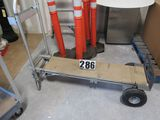 Magliner convertible hand truck with pneumatic tires can be used vertically or horizontally