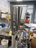 rack of stainless steel threaded rod mixed sizes from 1/8