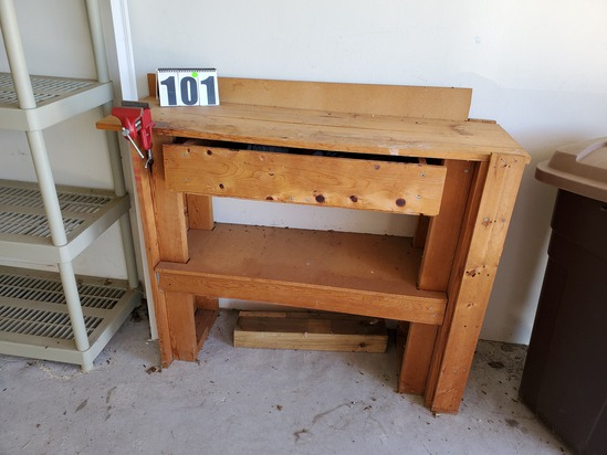 wood working bench with drawer and vise