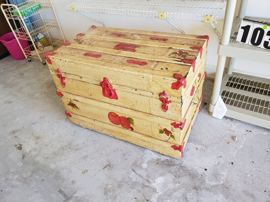 """antique steamer trunk with repaint decoration 36"""" w x 24"""" deep x 24"""" high"""