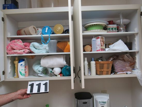 mixed houseware contents of utility cabinets above laundry sink