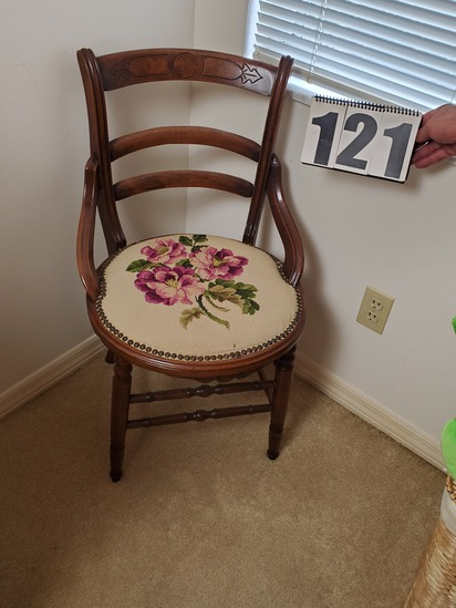 mahogany framed parlor chair with needle point seat