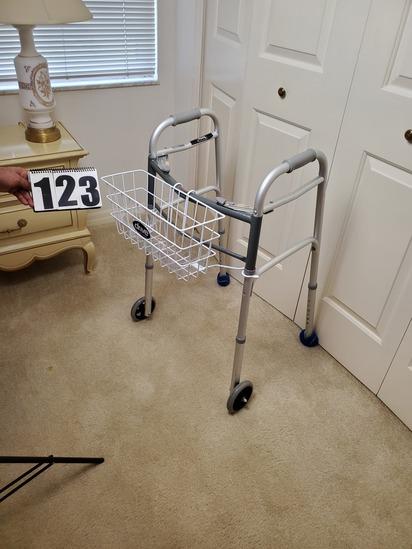 Folding adjustable height alumimum frame handicap walker with wheels