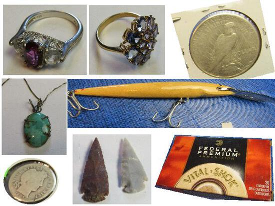 Jewelry, Coins, Collectibles, Fishing Tackle, Ammo