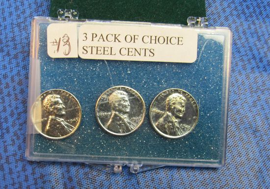 3 pack of choice 1943 steel cents