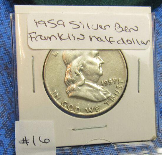 1959 Silver Ben Franlkin half dollar