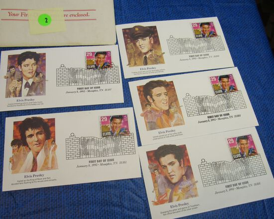 set pf 5 Elvis Presley 1993 First Day Issue stamped envelopes