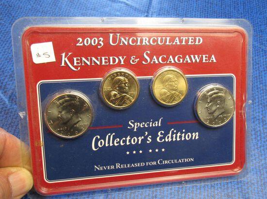 2003 Kennedy & Sacagawea Uncirculated  4 coin collection